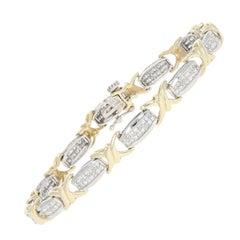 1.98 Carat Princess Cut Composite Diamond Bracelet 14 Karat White Gold Link