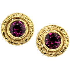 1.98 Carat Rhodolite Garnet in 18 Karat Gold Hand Engraved Earrings, Made in USA