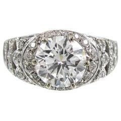 1.98 Carat Round GIA Certified D Color Brilliant Diamond Gold Ring