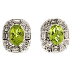 1.98 Carat Total Cushion Cut Peridot and Diamond Earrings in 14 Karat White Gold