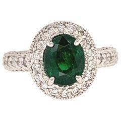 1.98 Carat Tsavorite and Diamond Gold Ring