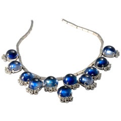 1980-1990 Cabochon Diamond and Synthetic Sapphire 18K Gold Set Necklace