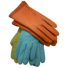 1980 3 Pairs Orange Turquoise & Chartreuse Leather Lined Gloves