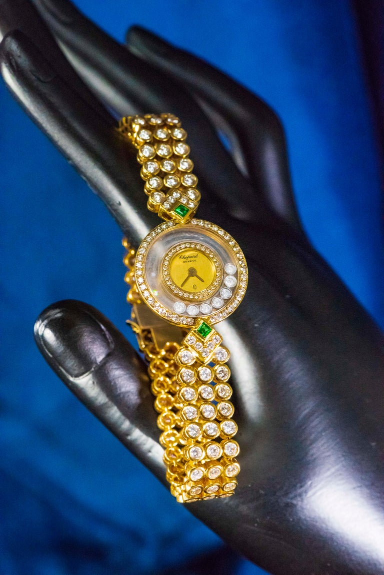 1980s-1990s Chopard Happy Diamond Emerald and Aprox 20Cts Diamond Bracelet Watch For Sale 8