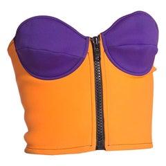 1990S Purple & Orange Neoprene Scuba Bustier With Oversized Front Zipper
