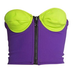 1990S Lime Green & Purple Neoprene Scuba Bustier With Oversized Front Zipper