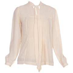 1980S Polyester Pleated Bow Neck Blouse Top