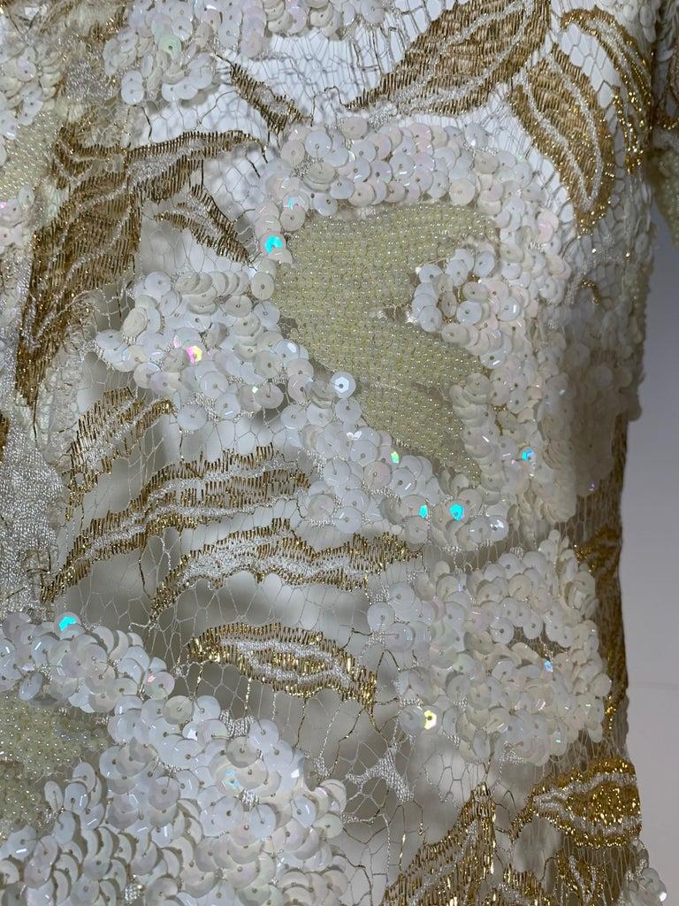 1980 Adolfo Gold Lace & Sequin Pouf Shoulder Cocktail Mini Dress Size 4 For Sale 5