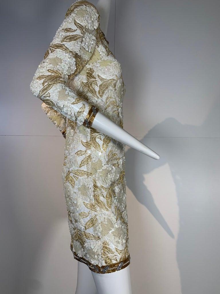 1980 Adolfo Gold Lace & Sequin Pouf Shoulder Cocktail Mini Dress Size 4 For Sale 6