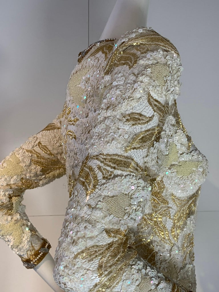 1980 Adolfo Gold Lace & Sequin Pouf Shoulder Cocktail Mini Dress Size 4 For Sale 7