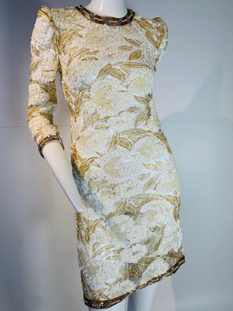 1980 Adolfo Gold Lace & Sequin Pouf Shoulder Cocktail Mini Dress Size 4 For Sale 8