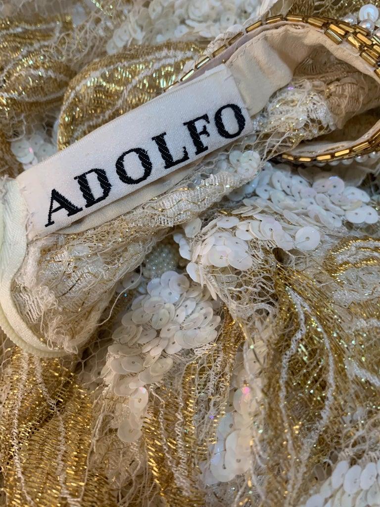 1980 Adolfo Gold Lace & Sequin Pouf Shoulder Cocktail Mini Dress Size 4 For Sale 10