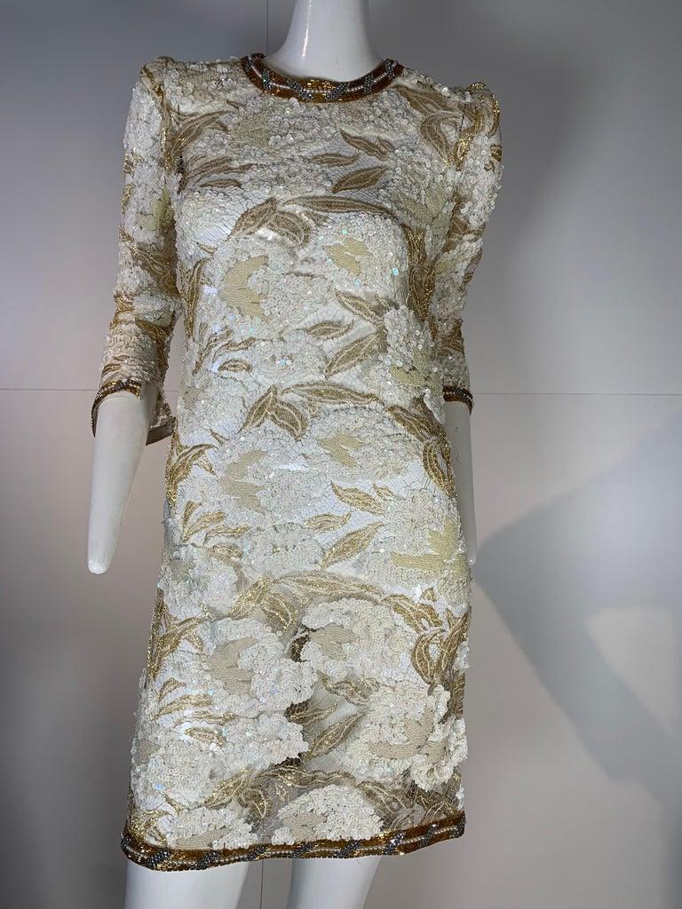 Gray 1980 Adolfo Gold Lace & Sequin Pouf Shoulder Cocktail Mini Dress Size 4 For Sale