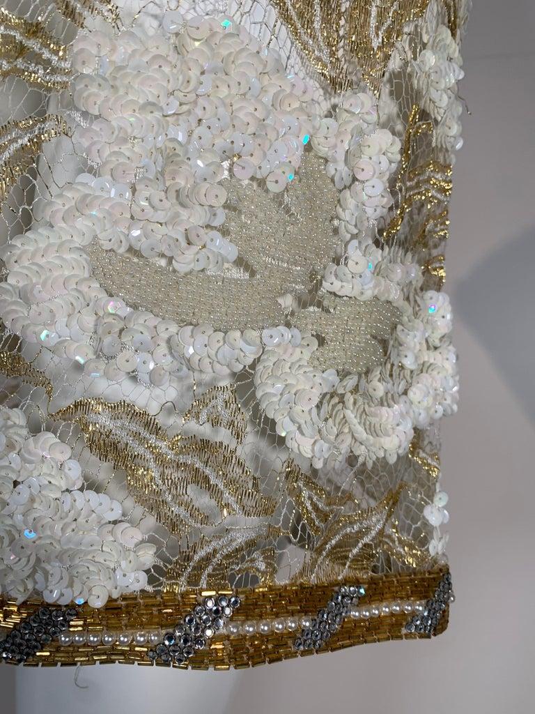 Women's 1980 Adolfo Gold Lace & Sequin Pouf Shoulder Cocktail Mini Dress Size 4 For Sale