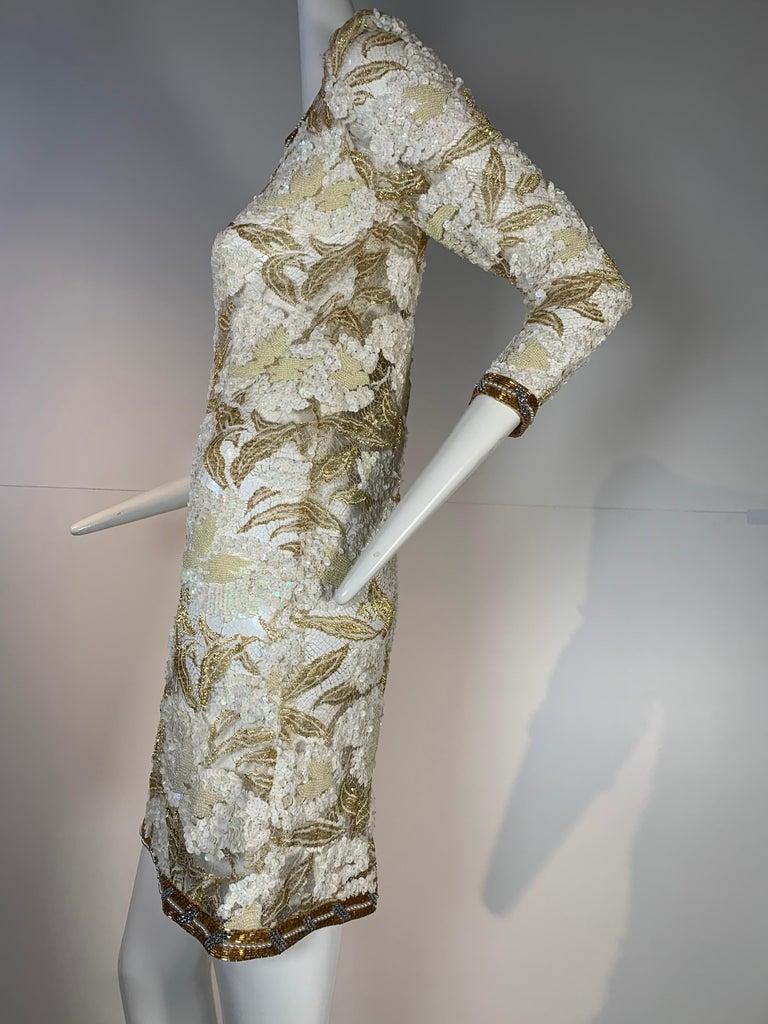 1980 Adolfo Gold Lace & Sequin Pouf Shoulder Cocktail Mini Dress Size 4 For Sale 1