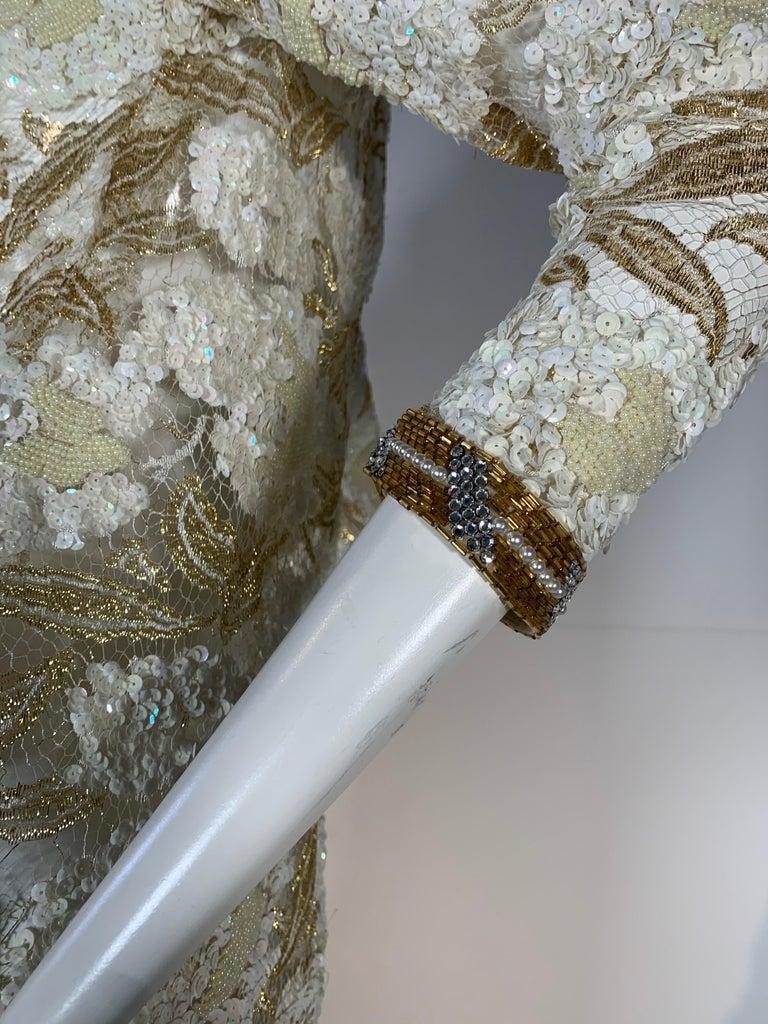 1980 Adolfo Gold Lace & Sequin Pouf Shoulder Cocktail Mini Dress Size 4 For Sale 2