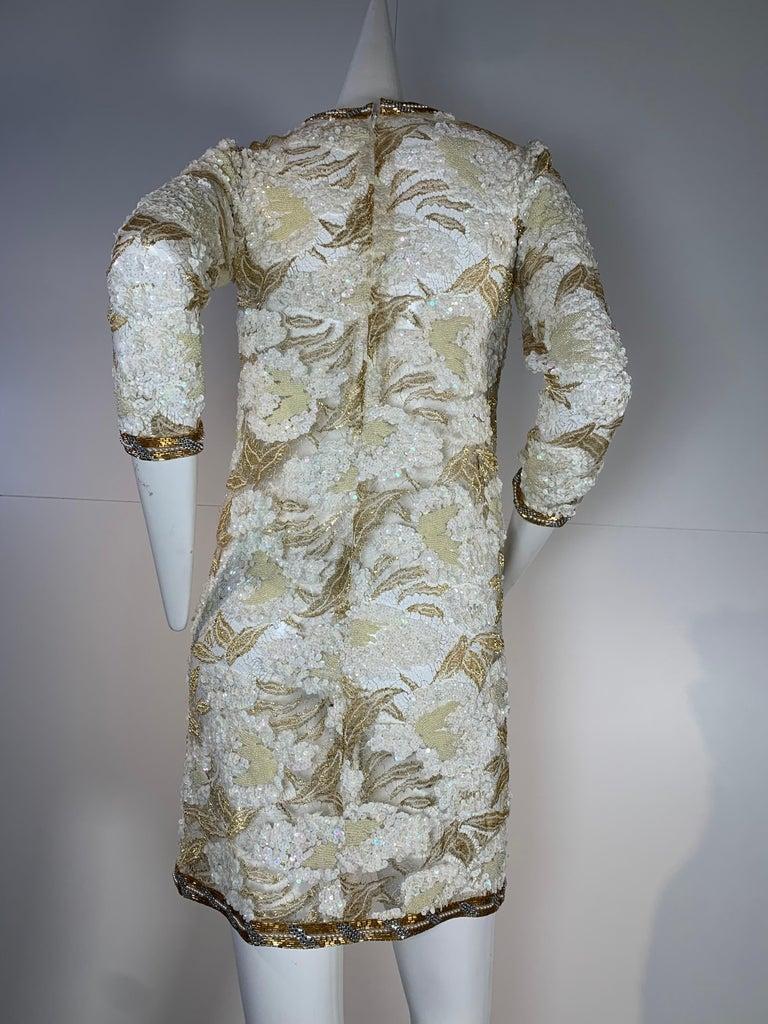 1980 Adolfo Gold Lace & Sequin Pouf Shoulder Cocktail Mini Dress Size 4 For Sale 3