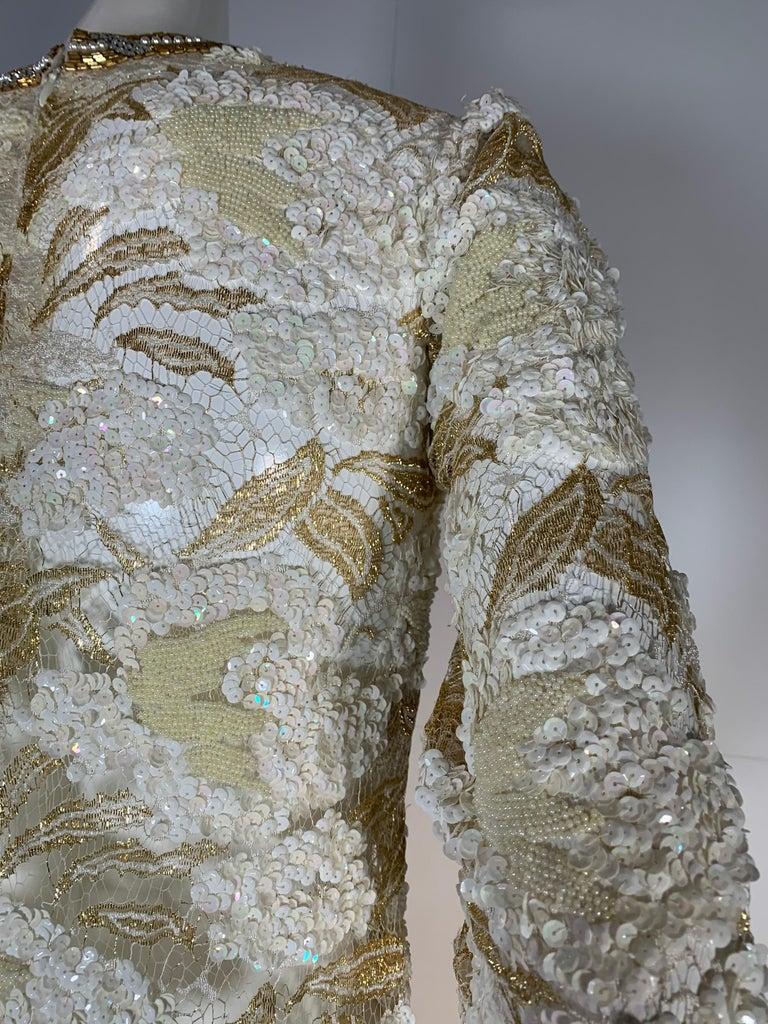 1980 Adolfo Gold Lace & Sequin Pouf Shoulder Cocktail Mini Dress Size 4 For Sale 4
