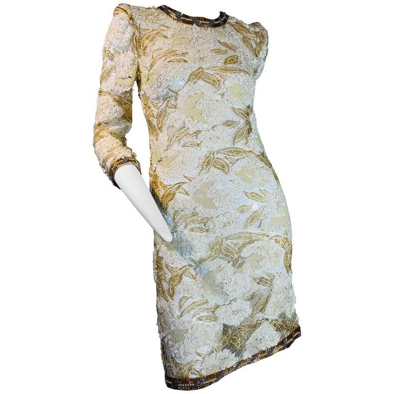 1980 Adolfo Gold Lace & Sequin Pouf Shoulder Cocktail Mini Dress Size 4 For Sale