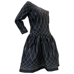 1980 Arnold Scaasi Black Silk Satin Cocktail Dress W/ Rhinestone Decoration