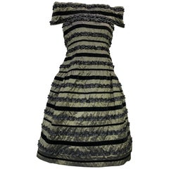 1980 Arnold Scaasi Silk Changeant Cocktail Dress w/ Black Velvet & Ruffle Stripe