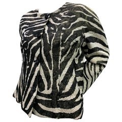 1980 Arnold Scaasi Zebra Print Matelasse Brocade & Red Silk Lined Evening Jacket