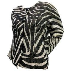 1980 Arnold Scaasi Zebra Print Matelasse Brocade & Red Silk Lined Evening Jacket
