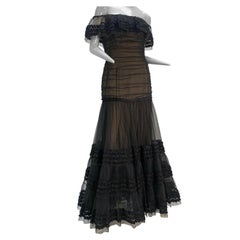 1980 Belleville Sassoon Black Tulle Off-The-Shoulder Peasant-Style Gown