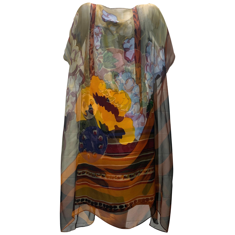 1980 Bill Blass Matisse Print Silk Chiffon Overlay & Matching Shift Dress Set