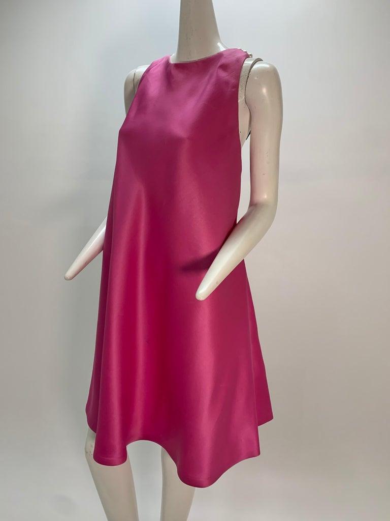 1980 Bill Blass Pink Silk Organza Mini Dress W/Chunky Pearl Strands & Bow 6