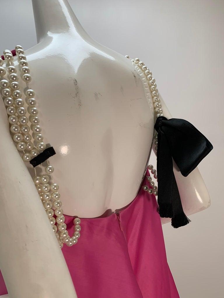 1980 Bill Blass Pink Silk Organza Mini Dress W/Chunky Pearl Strands & Bow 8