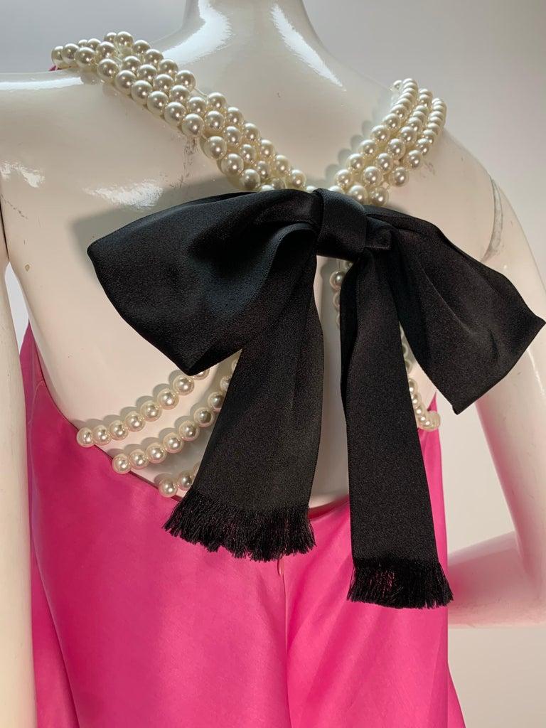 Women's 1980 Bill Blass Pink Silk Organza Mini Dress W/Chunky Pearl Strands & Bow