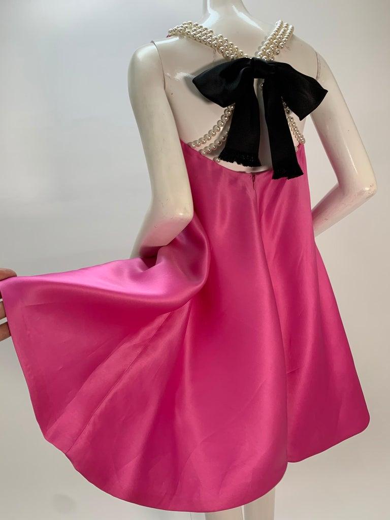 1980 Bill Blass Pink Silk Organza Mini Dress W/Chunky Pearl Strands & Bow 1