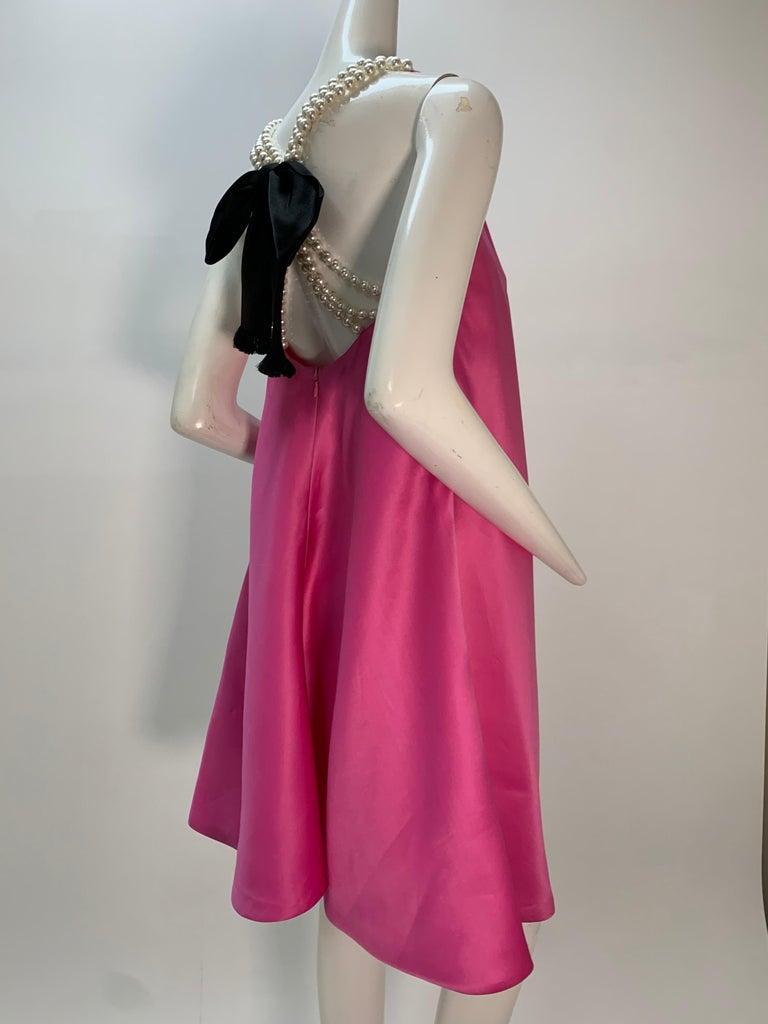 1980 Bill Blass Pink Silk Organza Mini Dress W/Chunky Pearl Strands & Bow 4
