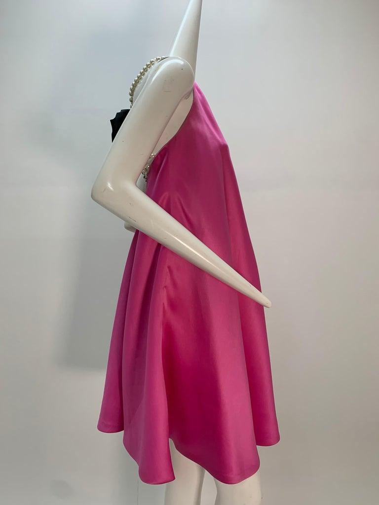 1980 Bill Blass Pink Silk Organza Mini Dress W/Chunky Pearl Strands & Bow 5