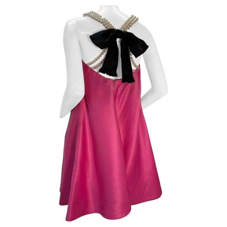 1980 Bill Blass Pink Silk Organza Mini Dress W/Chunky Pearl Strands & Bow
