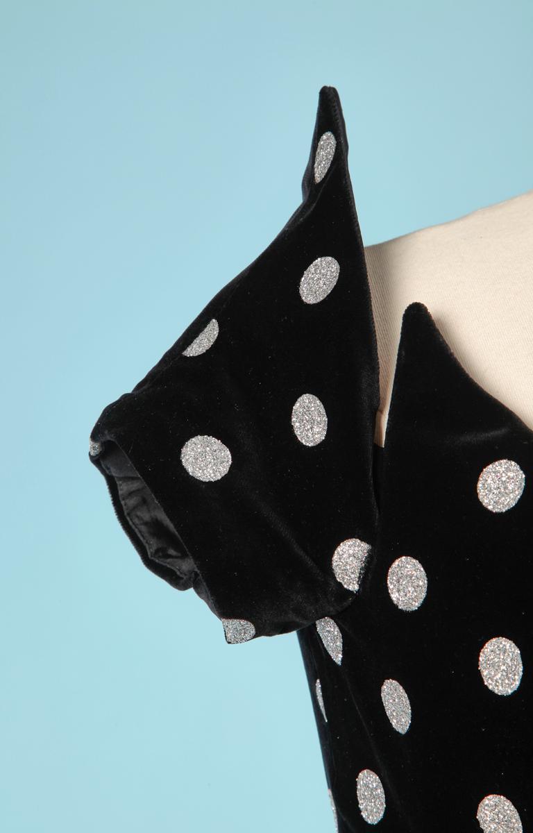 Black 1980 black velvet dress with silver polka dots and Lanvin label For Sale