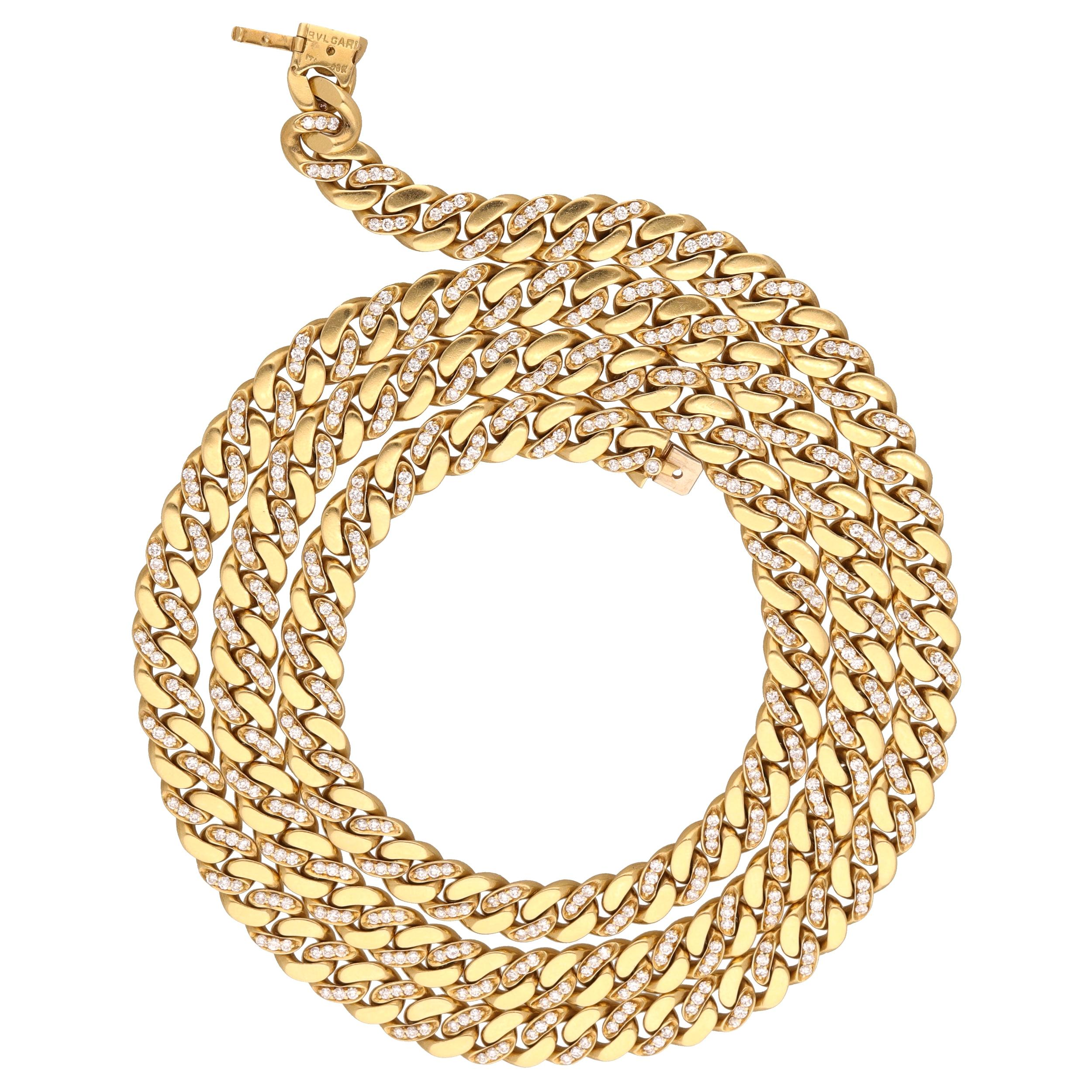 1980 Bulgari 18 Kt. Yellow Gold Diamonds Groumette Necklace