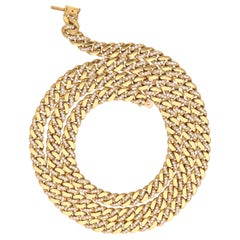 1980 Bulgari 18 Kt. Yellow Gold Diamonds Groumette Necklace