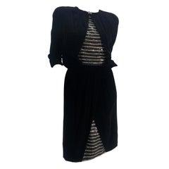 1980 Carolyne Roehm Black Velvet Cocktail Dress W/ Rhinestone & Sequin Stripes
