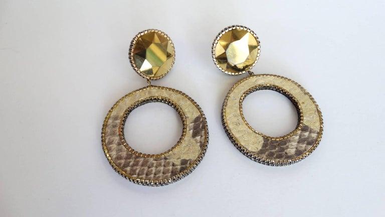 1980 Deanna Hamro Python Hoop Earrings  For Sale 6