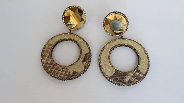 1980 Deanna Hamro Python Hoop Earrings  For Sale 7