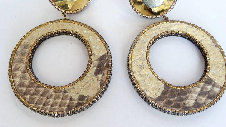 1980 Deanna Hamro Python Hoop Earrings  For Sale 8