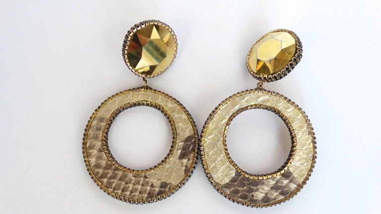1980 Deanna Hamro Python Hoop Earrings  For Sale 9