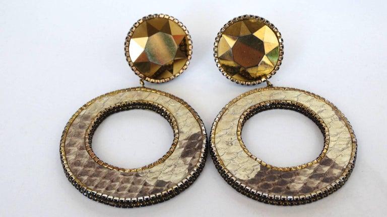 1980 Deanna Hamro Python Hoop Earrings  For Sale 10