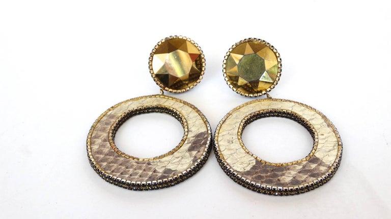 1980 Deanna Hamro Python Hoop Earrings  For Sale 11