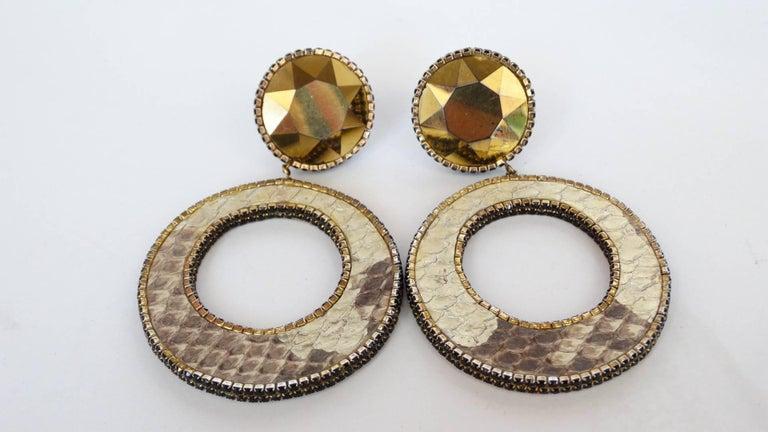 1980 Deanna Hamro Python Hoop Earrings  For Sale 13