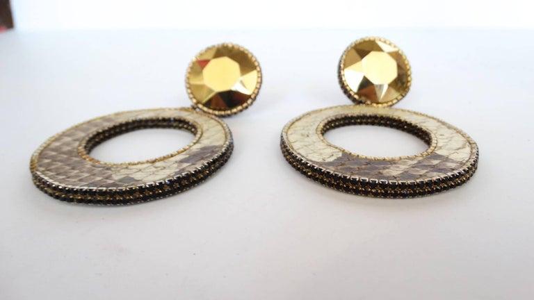 Women's 1980 Deanna Hamro Python Hoop Earrings  For Sale