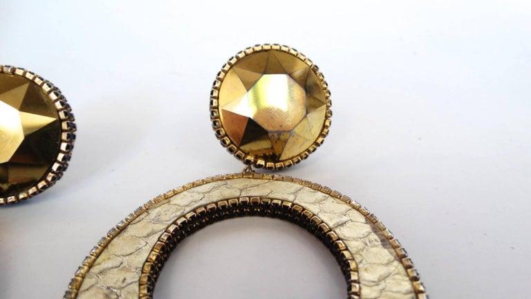 1980 Deanna Hamro Python Hoop Earrings  For Sale 3