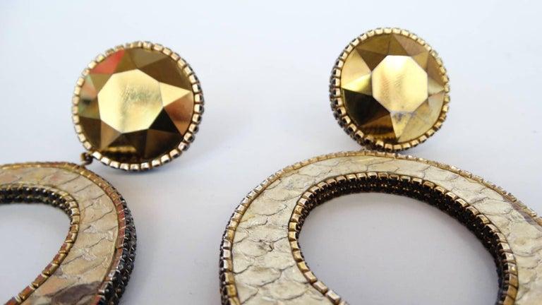 1980 Deanna Hamro Python Hoop Earrings  For Sale 4
